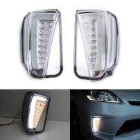 iJDMTOY Clear Lens LED DRL/Turn Signal Lights Compatible With 2012-2015 Toyota Prius (LCI Facelift Models), JDM Style Direct Fit Lower Bumper Lights Assembly