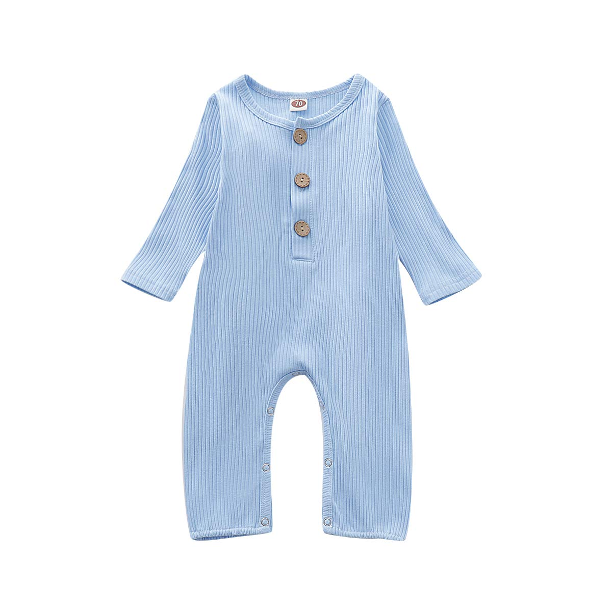 OPAWO Newborn Baby Romper Jumpsuit Long Sleeve Boys Girls Solid Color One Piece Outfits with Button