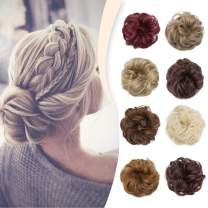 Hairro Messy Hair Bun Extensions Synthetic Updo Hair Scrunchy Highlight Chignons Donut Elastic Bride Bun Ponytail Hairpiece for Women 1 Piece #4A Black- Thicker