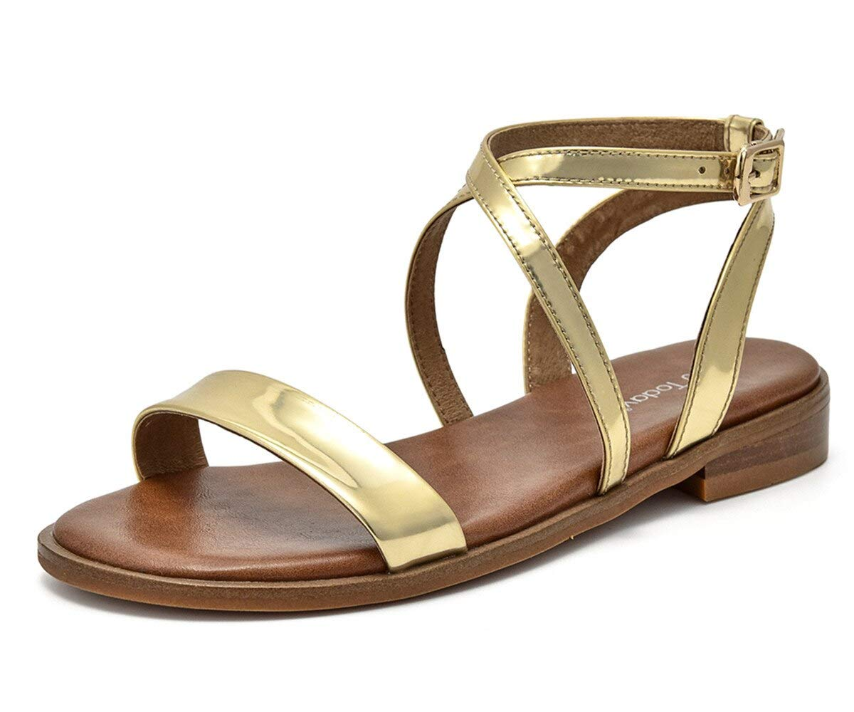 Beau Today Women's Glittering Leather Sandals Flat Ankle Strap Summer Beach Vacation Sandals