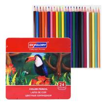 Set of 24 Colored Pencils Set with Metal Box Soft Core Color Pencil Set for Adult Coloring Books Artist Drawing Sketching Crafting