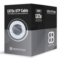 Dripstone CAT5e 1000ft UTP Ethernet Cable 24AWG Bulk LAN Network Wire (Gray)