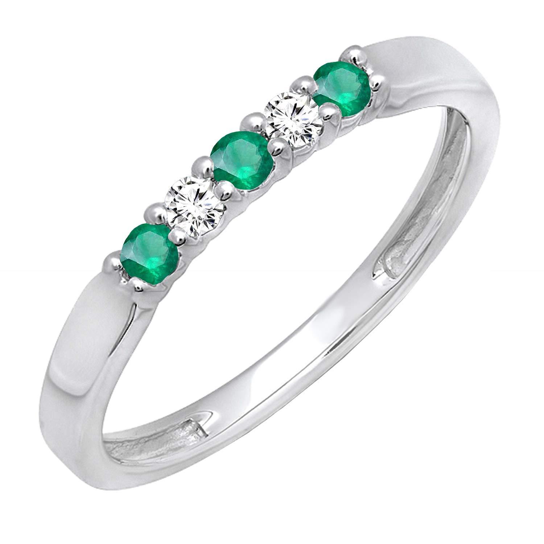 Dazzlingrock Collection 14K Round Gemstone & White Diamond 5 Stone Ladies Anniversary Wedding Band Ring, White Gold