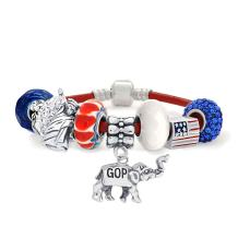 Patriotic USA America Republican Elephant Bead Charm Bracelet Red White Blue Genuine Leather Sterling Silver For Women