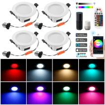 Smart Led Downlight Kit, FVTLED 4pcs Wireless Bluetooth 5W Dimmable Recessed Spot RGBWC Multicolor Color 5 in 1 Ceiling Spotlight with Remote Control