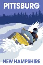 Pittsburg, New Hampshire - Snowmobile Scene (12x18 Art Print, Wall Decor Travel Poster)