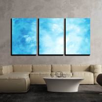 """wall26 - 3 Piece Canvas Wall Art - Abstract Hand Drawn Watercolor Background Blue Sky and White Clouds - Modern Home Decor Stretched and Framed Ready to Hang - 24""""x36""""x3 Panels"""