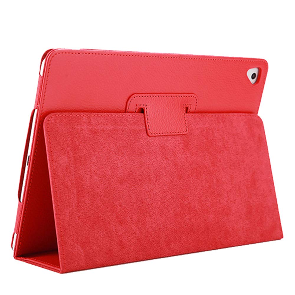 "iPad Air 2 Case,2018/2017 9.7 iPad/Cover,FANSONG Bifold Series Litchi Stria Slim Thin Magnetic PU Leather Smart Cover [Flip Stand,Sleep Function] Universal for Apple iPad Air/Air 2/Pro(9.7""), Red"