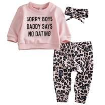 MTSLYH Newborn Baby Girl Letter Sweatshirt Tops+Leopard Pants+Headband 3Pcs Outfit Set