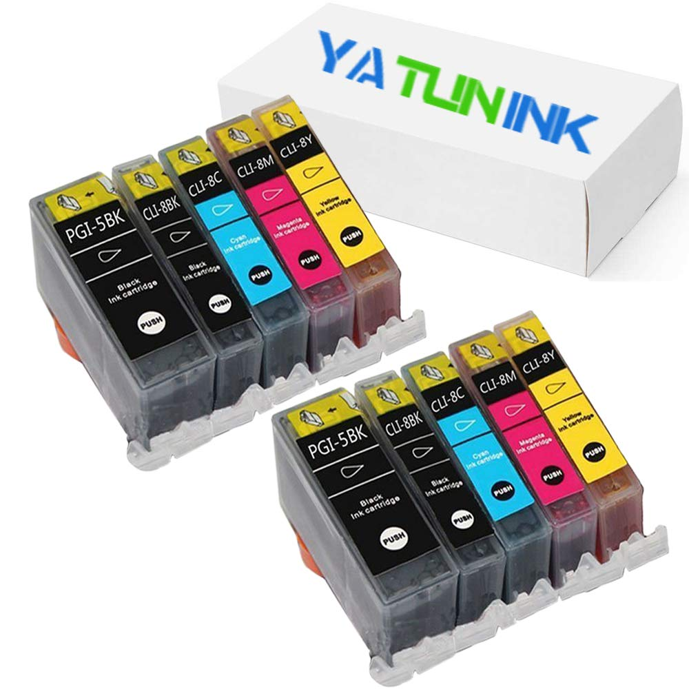 YATUNINK Compatible Ink Cartridge Replacement for Canon PGI-5BK CLI-8BK CLI-8C CLI-8M CLI-8Y Inkjet Cartridge for Canon PIXMA MP500 MP530 MP830 MP950 MP960 MP970 MX850 PIXMA iP4200 iP5200(10 Pack)