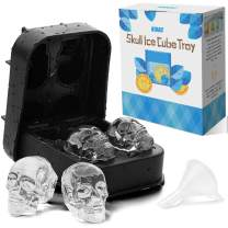 KIDAC Skull Ice Cube Tray Easy Release Silicone Skull Ice Mold for Chilling Drinks Candy Chocolate Mold BPA free - Dishwasher Safe