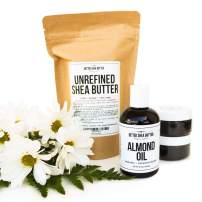DIY Whipped SHEA Butter Kit - Includes: Shea Butter, Almond Oil, Coconut Oil, 2 Empty Jars, Recipe Card with Access to Video Tutorial