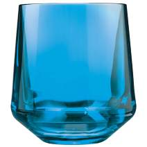 Drinique Stemless Unbreakable Tritan Wine Glasses, 12 oz (Set of 4), Blue