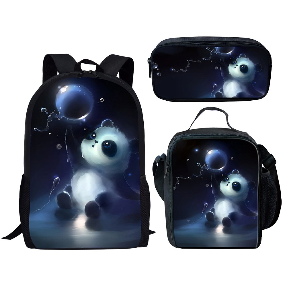 Middle School Student Backpack Lunch Bag Set Pen Bags For Boys Fashion Durable Daypack Panda Print