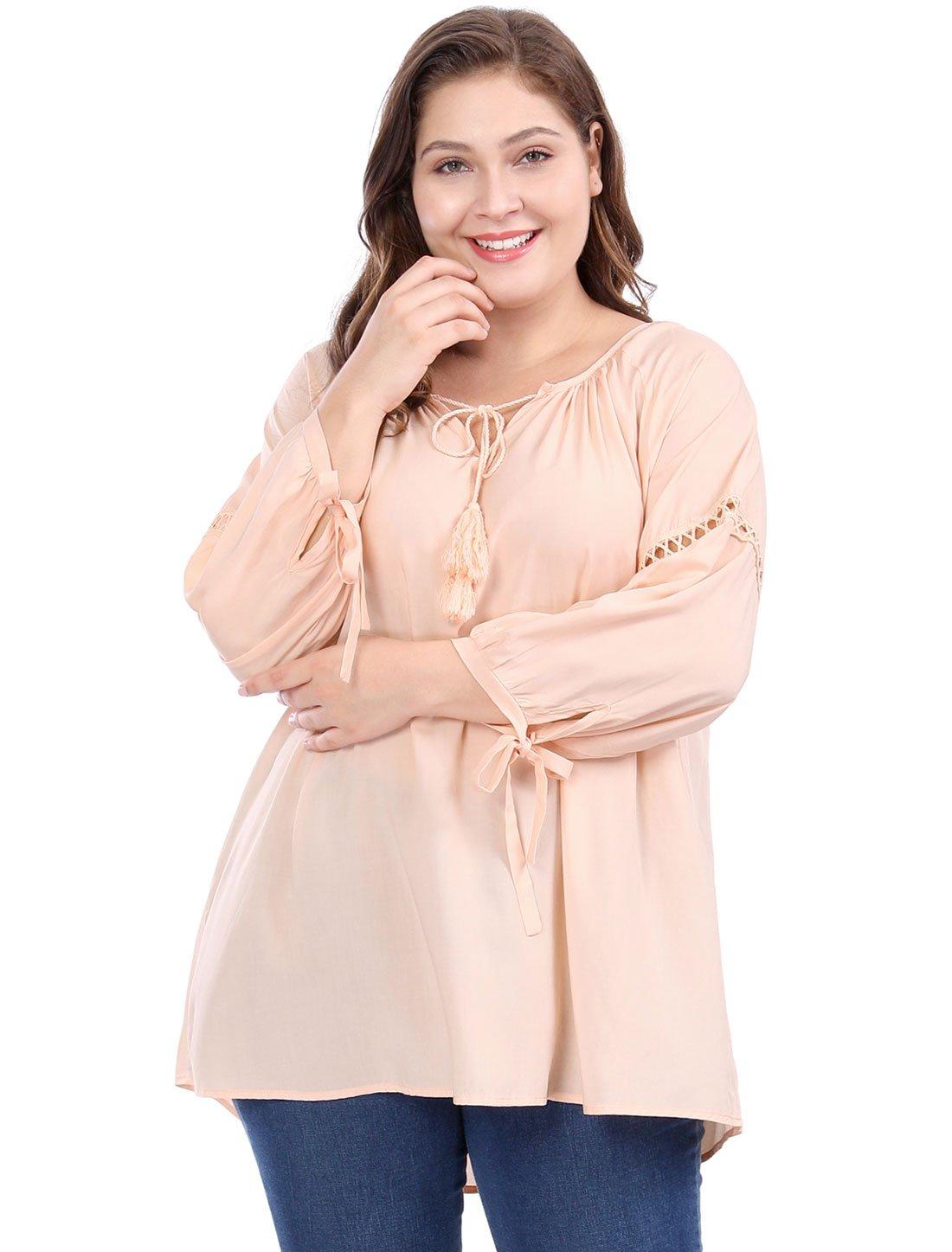 Agnes Orinda Women's Plus Size Raglan Sleeves Hollow Out Tie Neck Tunic Top