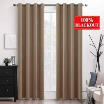 MIULEE 100% Blackout Curtains Thermal Insulated Solid Grommet Long Curtains/Drapes/Shades for Bedroom Living Room 2 Panels Brown 52x108 Inch