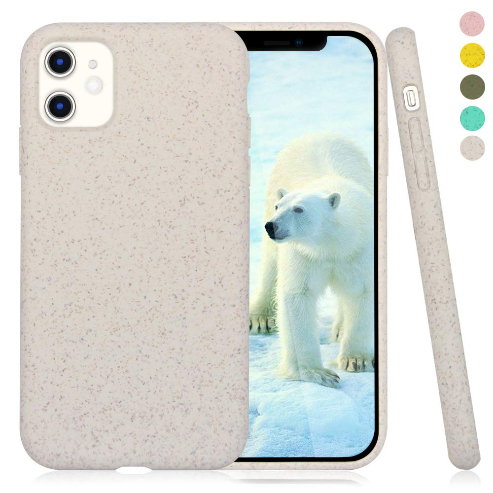 Inbeage 100% Biodegradable iPhone 11 Phone Case,Eco-Friendly and Compostable,Durable,Slim,6.1 Inches (Cream White)