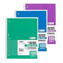 Mead Spiral Quad Ruled Notebook, 1 Subject 5 Squares per inch 100 Sheets (Colors May Vary) (3 Pack)