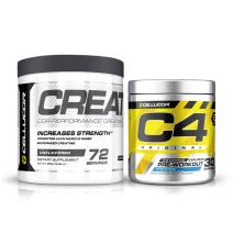Cellucor Pre Workout & Creatine Bundle,  C4 Original Pre Workout Powder, Icy Blue Razz, 30 Servings +  Cor Performance Creatine Powder, 72 Servings