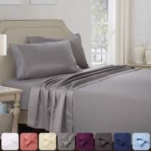Abakan Queen Bed Sheet Set 4 Piece Super Soft Brushed Microfiber 1800TC Hotel Luxury Premium Cooling Sheet Breathable, Wrinkle, Fade Resistant Deep Pocket Bedding Sheet Set (Queen, Grey)
