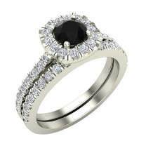 Black & White Diamond Cushion Halo Wedding Ring Set Matching Band 1.00 Carat Total Weight 14K Solid Gold