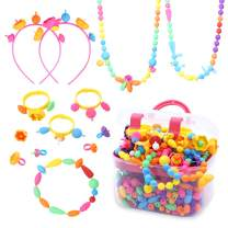 ACGOING Pop Beads Jewelry Making Kit 550Pieces DIY Jewelry Pop Snap Kit for Toddler 3,4,5,6,7,8 Year Old Kids,Make Hairband,Necklace,Bracelet and Ring Creativity Set Toys