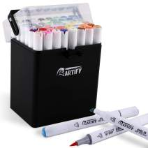 Artify 2020 48 Colors Brush Chisel Dual Tip Art Markers, Alcohol Artist Drawing Marker Set with A Carrying Case for Adult Coloring and Other Drawing Media, Perfect for Beginner or Experienced Artists