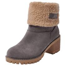 RUNSUN DAILY Winter Boots for Women Snow Work Hiking Boots Riding Ankle Mid Calf Platform Shoes Suede Fold Booties