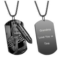 Zysta Engraving Photo Text Dog Tag Bullet Necklace for Ashes Urn Personalized Customized Picture Message Date Military Army Necklaces Ash Tube Container Pendant Memorial Keepsake