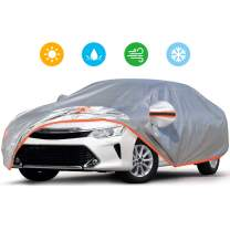 Audew Car Cover 210D Oxford Fabric Car Cover for All Weather Protection-Waterproof Windproof Snowproof UV Resistant with Adjustable Straps/Reflective Strips Fits Sedan XL(190'' to 200'')