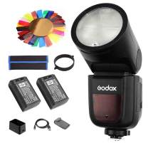 Godox V1-F Flash for Fuji, 2.4G TTL Round Head Speedlight, 1/8000 HSS, 480 Full Power Shots, 1.5s Recycle Time, 2600mAh Battery, 10 Level LED Modeling Lamp, w/One Additonal Battery/Color Filter Kit