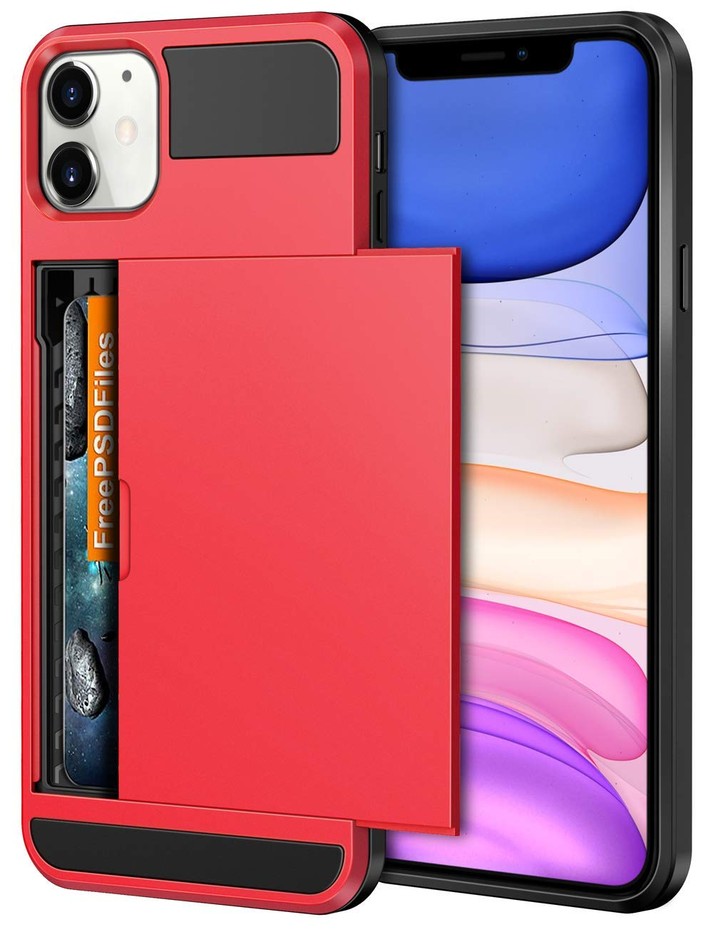 Vofolen Case for iPhone 11 Case Wallet Credit Card Holder ID Slot Sliding Door Hidden Pocket Anti-Scratch Dual Layer Hybrid Bumper Armor Protective Hard Shell Back Cover for iPhone 11 6.1 inch Red
