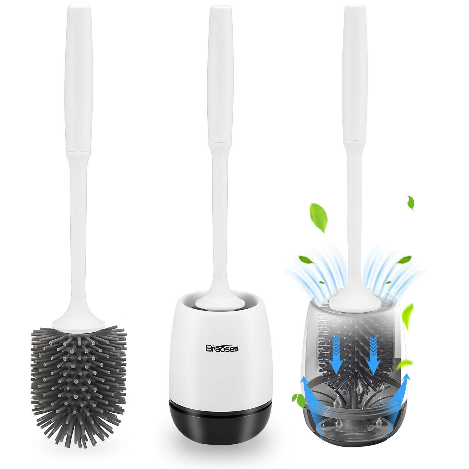 Braoses Toilet Brush and Holder Set with Antislip Grip Handle Soft Silicone Bristle, Toilet Bowl Cleaning Brush for Bathroom, Hollow Suspension Drainage Holder (White-Black)
