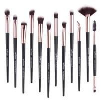 Anmor Brush Sets-12 PCs Makeup Brushes for Foundation Eyeshadow Blending Face Powder Blush Concealers Brush Kit (Black)