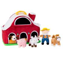 MeMoreCool Plush Farm House with Farmer & Animals (Pig, Cow, Horse and Dog), Educational Plush Stuffed Animal Playset in Play Carrying Red Big Barn Case, Birthday for 1-5 Years Old