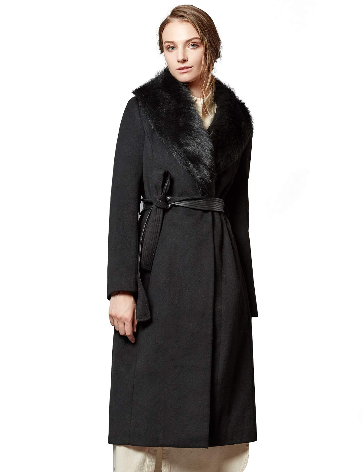 Ecalier Women's Wool Wrap Coat Long Trench Winter Coat with Faux Fur Collar