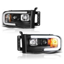 [For 2002-2005 Dodge RAM 1500 2500 3500] OLED Neon Tube Black Projector Headlight Headlamp Assembly, Driver & Passenger Side