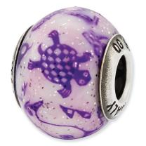 925 Sterling Silver Charm For Bracelet Italian Decorative Purple Glass Bead Overlay Designed Glas Fine Jewelry For Women Gifts For Her