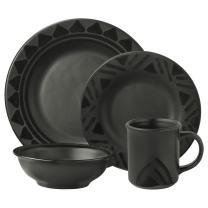Pfaltzgraff Midnight Sun Dinnerware Set (16 Piece), Black