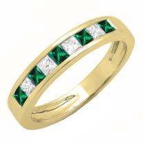 Dazzlingrock Collection 10K Princess Lab Created Gemstone & White Diamond Ladies Wedding Band Ring, Yellow Gold