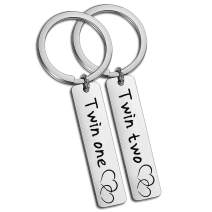 SIDIMELO Twin Accessories Gifts Twins Jewelry Keychain Twin One Twin Two Twin Sisters and Brother Matching Pair Gifts Family Keychain Best Friend Keyring