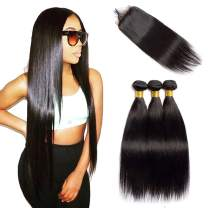 VIPbeauty Brazilian Straight Human Hair Bundles with Closure 4x4 Free Part Lace Closure with Baby Hair Unprocessed Virgin Hair Weft for Black Women (14 16 18+12, Nature Color)
