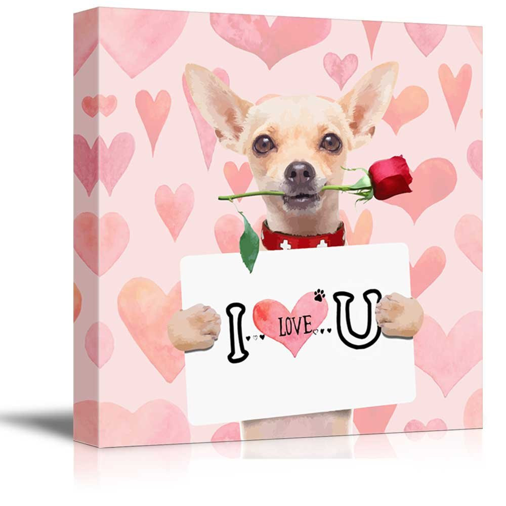 wall26 Square Dog Series Canvas Wall Art - Chihuahua Dog Holding a I Love U Board with a Rose in The Mouth - Giclee Print Gallery Wrap Modern Home Decor Ready to Hang - 24x24 inches