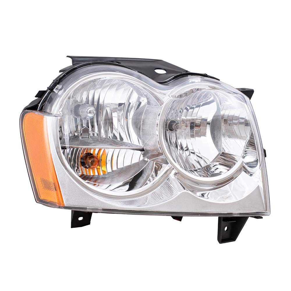 Replacement Passenger Headlight Compatible with 2005-2007 Grand Cherokee 55156350AK