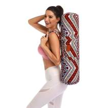 FODOKO Yoga Mat Tote Bag, Gym Duffle Bag Sling Carrier Patterned Canvas with Pocket and Zipper