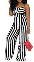 LightlyKiss Womens Casual Spaghetti Strap Striped Jumpsuits Sexy Tie Front Sleeveless Party Rompers