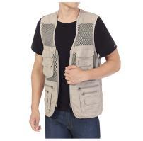 HOTMISS Men's Safari Fishing Hunting Mesh Vest Photography Work Multi-Pockets Outdoors Travel Journalist's Jacket