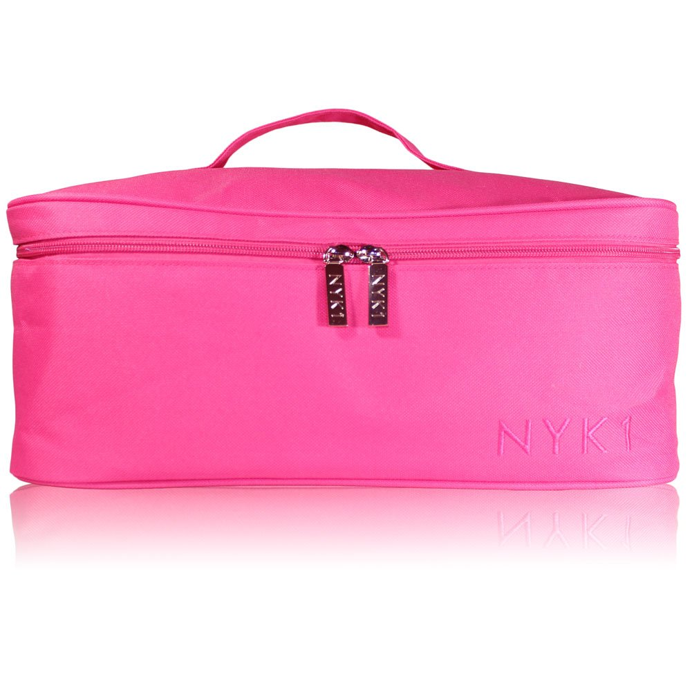 Make Up Beauty Cosmetic Bag - Large Travel Wash Case Bags for Women Girls Storage of Makeup Cosmetics, Toiletry Pouch for Brushes Toiletries Kids Brush Kit Nail Art Lamp Set, Splash Waterproof (PINK)