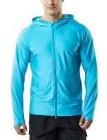TSLA Men's UPF 50+ Long Sleeve Sun Protection Hoodie, Zip Front Performance UV/SPF Shirt, Lightweight Running Fising Shirts