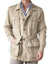Mens Safari Jacket Hunting Cotton Single Breasted Casual Waistband Windbreaker Travel Military Cargo Coat